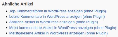 Beispiel: Ähnliche Artikel in WordPress anzeigen