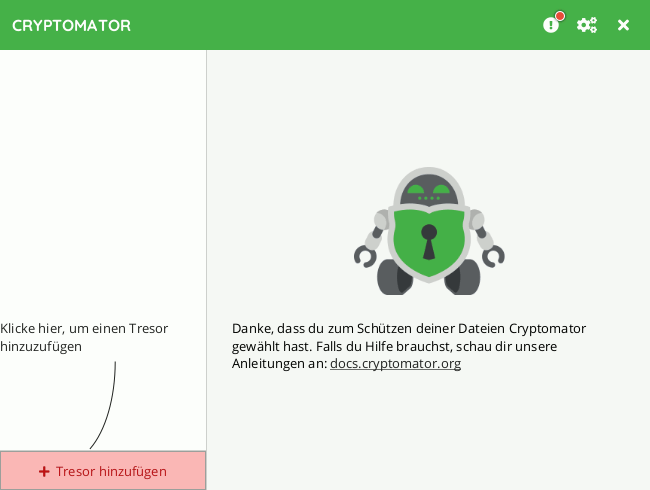 Cryptomator: Tresor erstellen