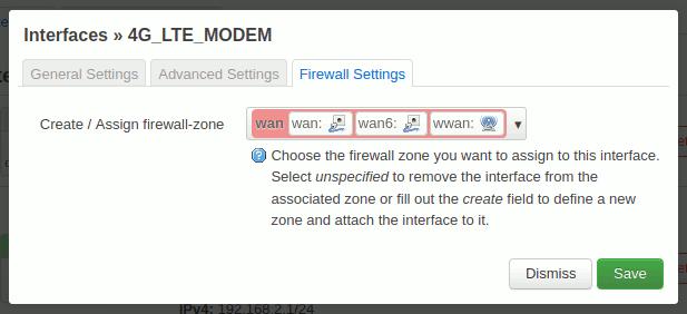 OpenWrt: QMI-Interface - Firewall - WAN-Zone