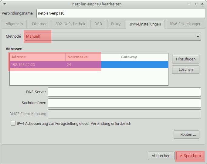 Ubuntu: Netzwerk-Manager - IP-Adresse einstellen