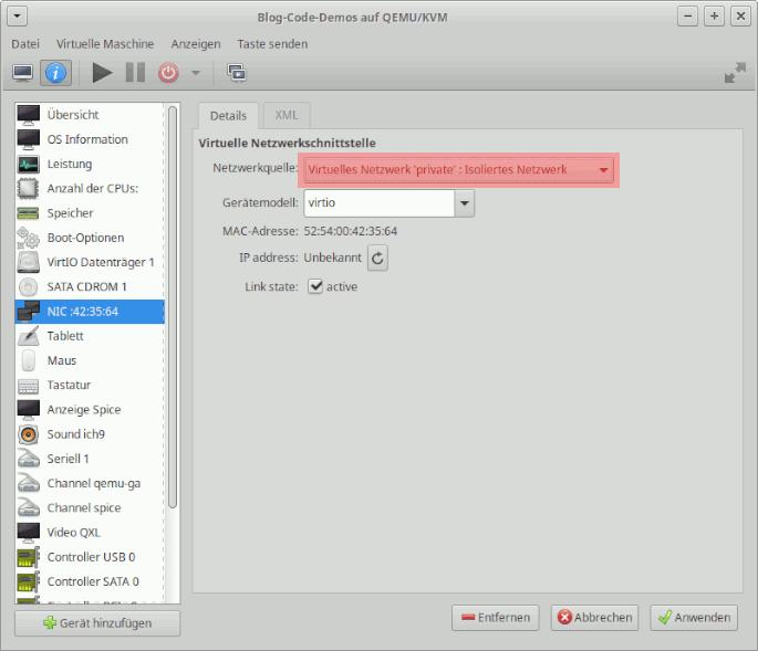 Virtual Machine Manager: Isoliertes Netzwerk für VM einstellen