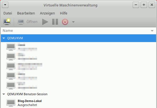 Virtual Machine Manager: VM-Übersicht