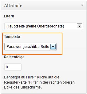 WordPress-Admin-Bereich - Template für passwortgeschützte Seite auswählen