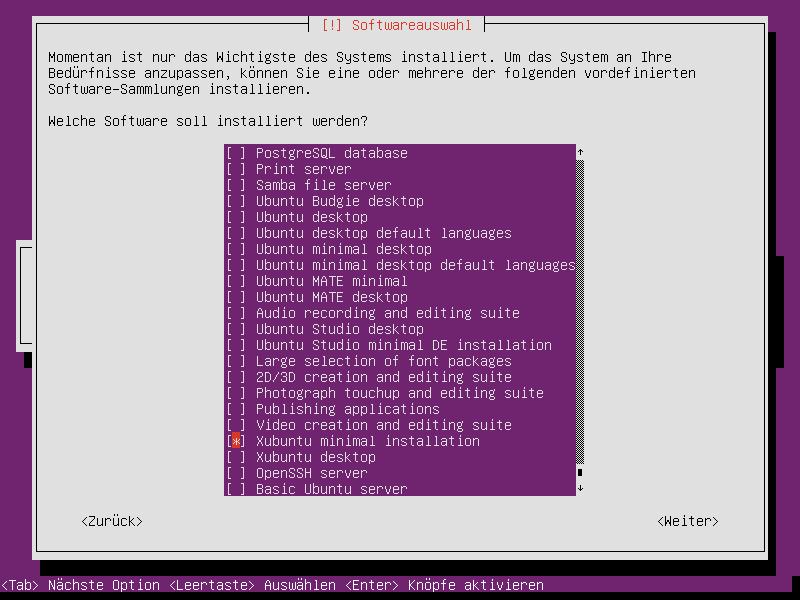 Xubuntu-Minimal-Installation: Grundsystem ohne zusätzliche Software installieren