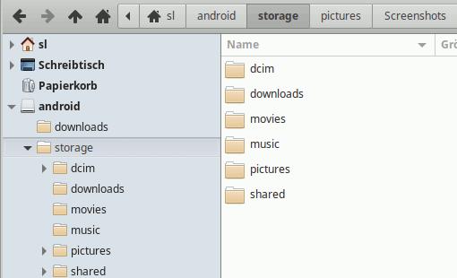 Android-Dateisystem per SSHFS einbinden