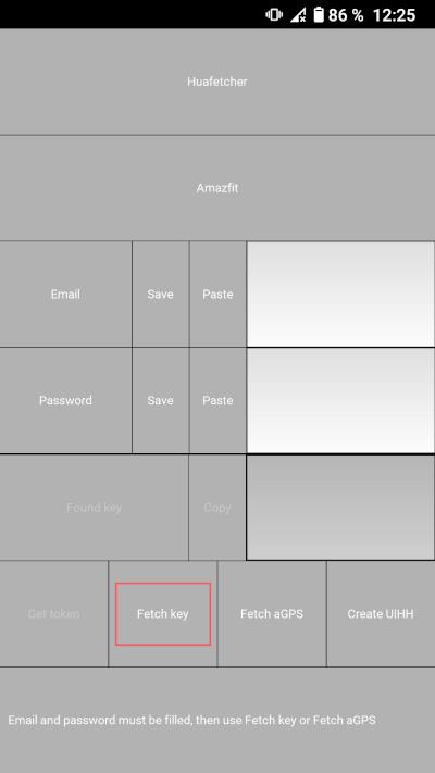 Huafetcher-App: Auth-Schlüssel Amazfit GTS 2e ermitteln