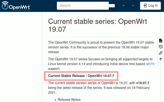 Neueste OpenWrt-Version ermitteln