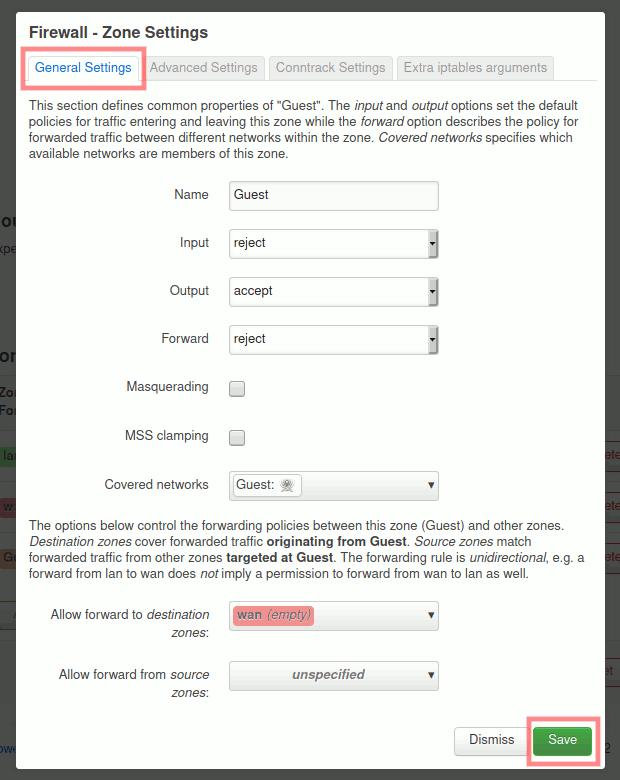 OpenWrt: Firewall-Zone für Gast-Netzwerk einrichten