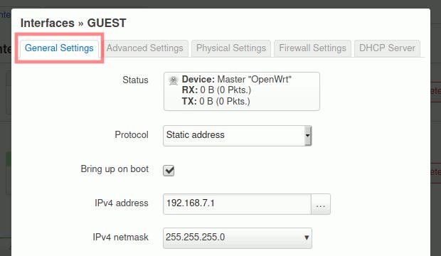 OpenWrt: Gast-Interface - allgemeine Einstellungen