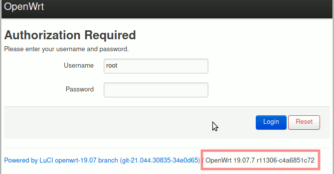 Luci - prüfen, dass neueste Firmware installiert ist