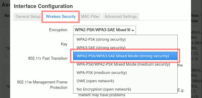 OpenWrt: WPA3 für WLAN einstellen