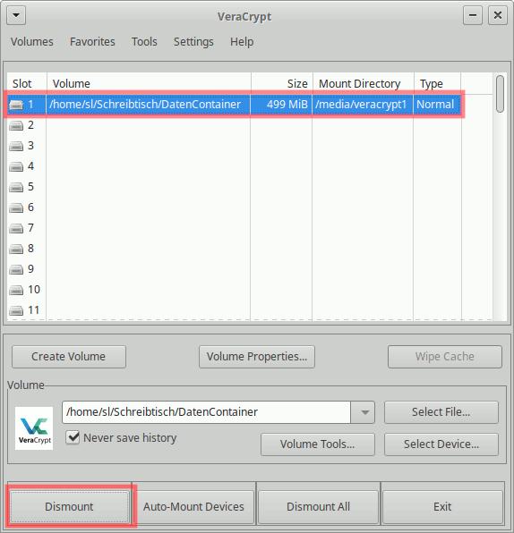 VeraCrypt: Container aushängen (dismount)