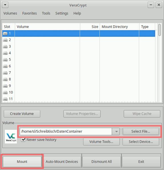 VeraCrypt: Container entschlüsseln und einbinden (mounten)