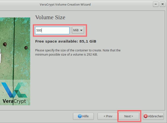 VeraCrypt: Container erstellen - Datei-/Containergröße auswählen
