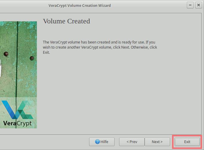 VeraCrypt: Container-Erstellung abschließen