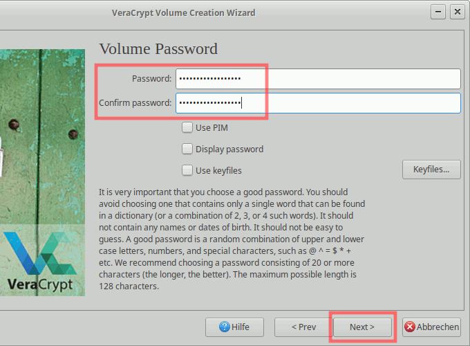 VeraCrypt: Container erstellen - Passwort vergeben