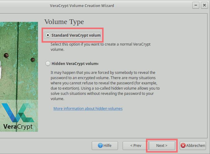 VeraCrypt: Container erstellen - Standard-Volume erstellen