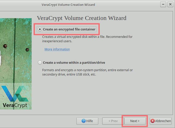 VeraCrypt: Container-Volume erstellen