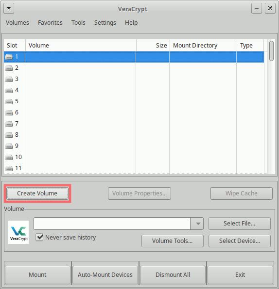 VeraCrypt: Volume-Erstellung starten