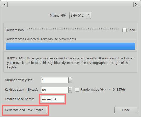 VeraCrypt: Schlüsseldatei generieren