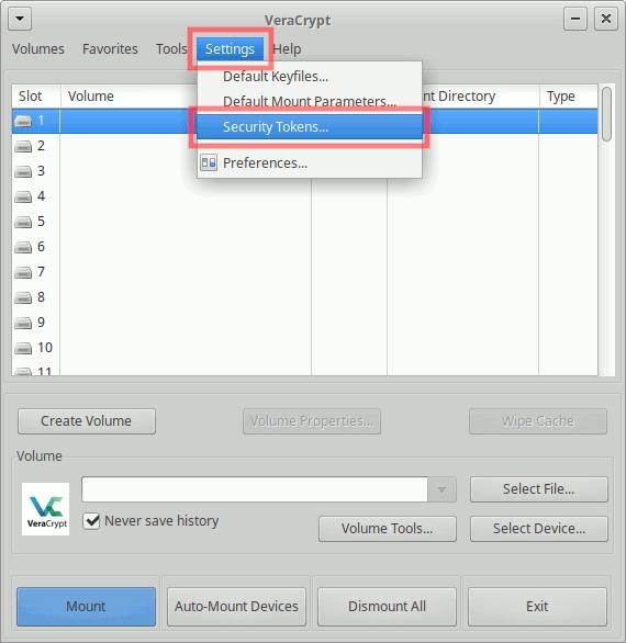 VeraCrypt: PKCS#11-Bibliothek-Dateipfad einstellen