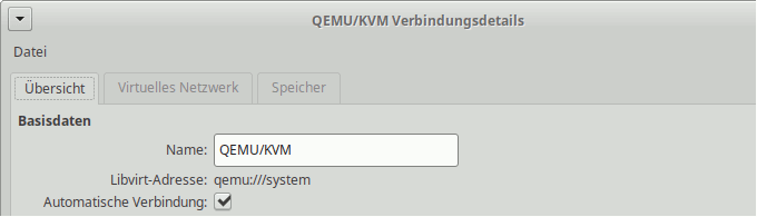 Virtual Machine Manager: URI einer Verbindung anzeigen
