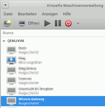 Virtual Machine Manager: VM-Übersicht - Whonix-Gateway-VM